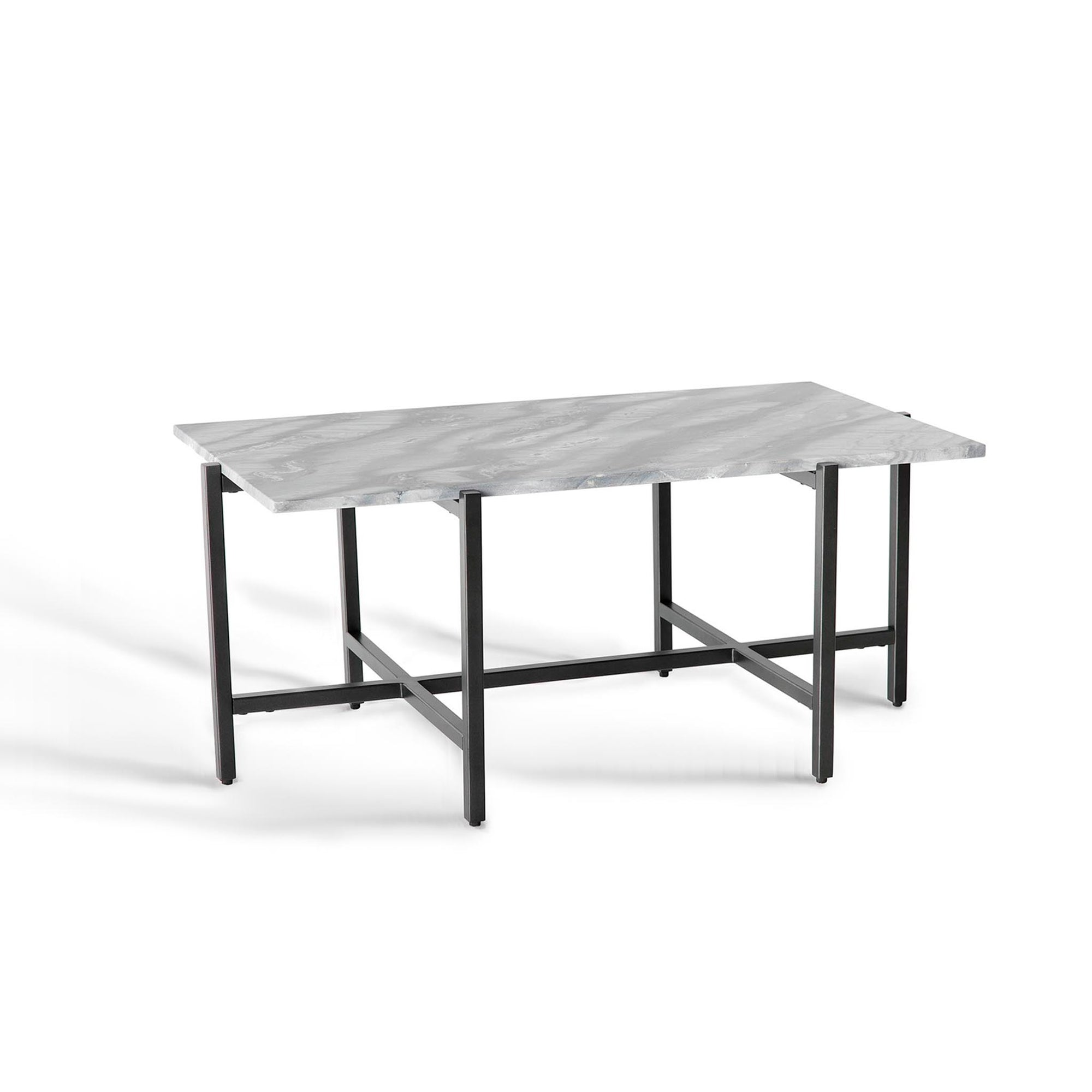 Kandla Grey Marble Top Coffee Table with Grey Metal Legs by Roseland Furniture