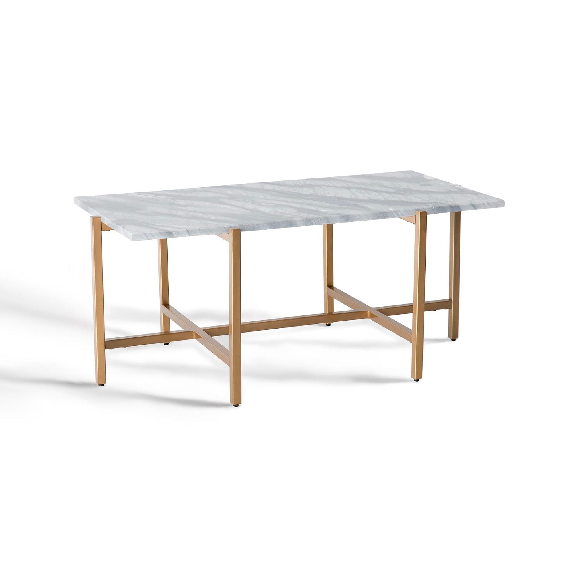 Kandla Rectangular Grey Marble Topped Coffee Table with Gold Base by Roseland Furniture