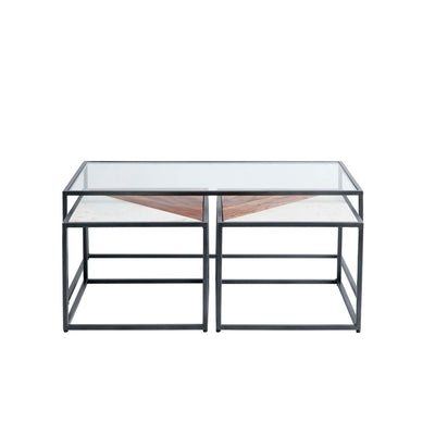 Kandla Glass Topped Coffee Table with White Marble & Wood Nested Tables and grey Bases - Front view