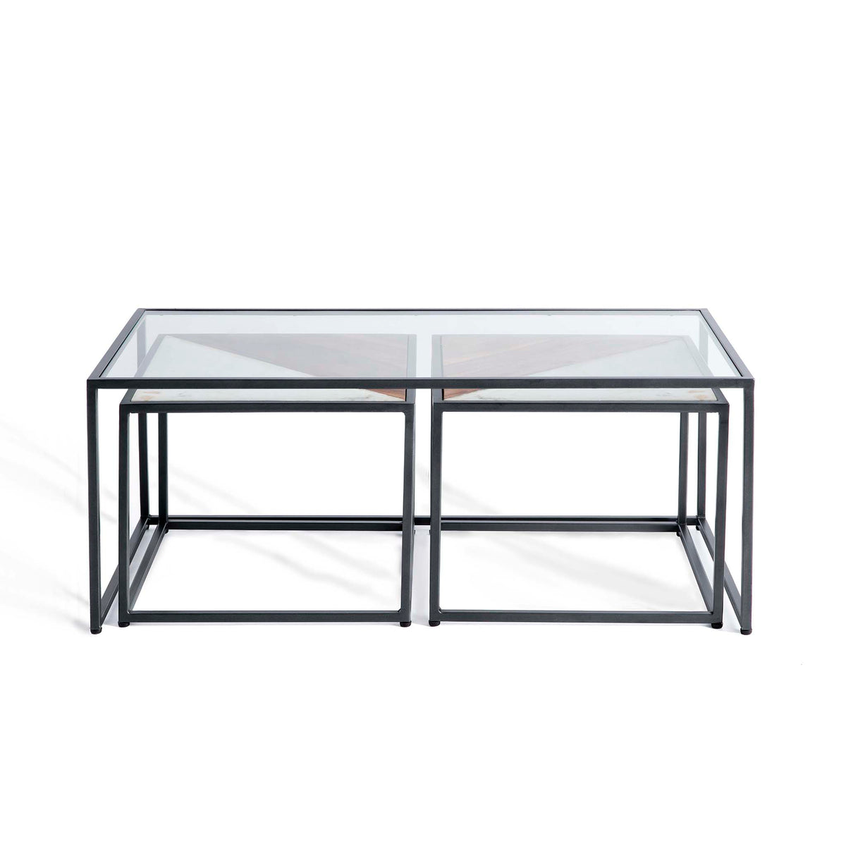 Kandla Glass Topped Coffee Table with White Marble & Wood Nested Tables and grey Bases by Roseland Furniture