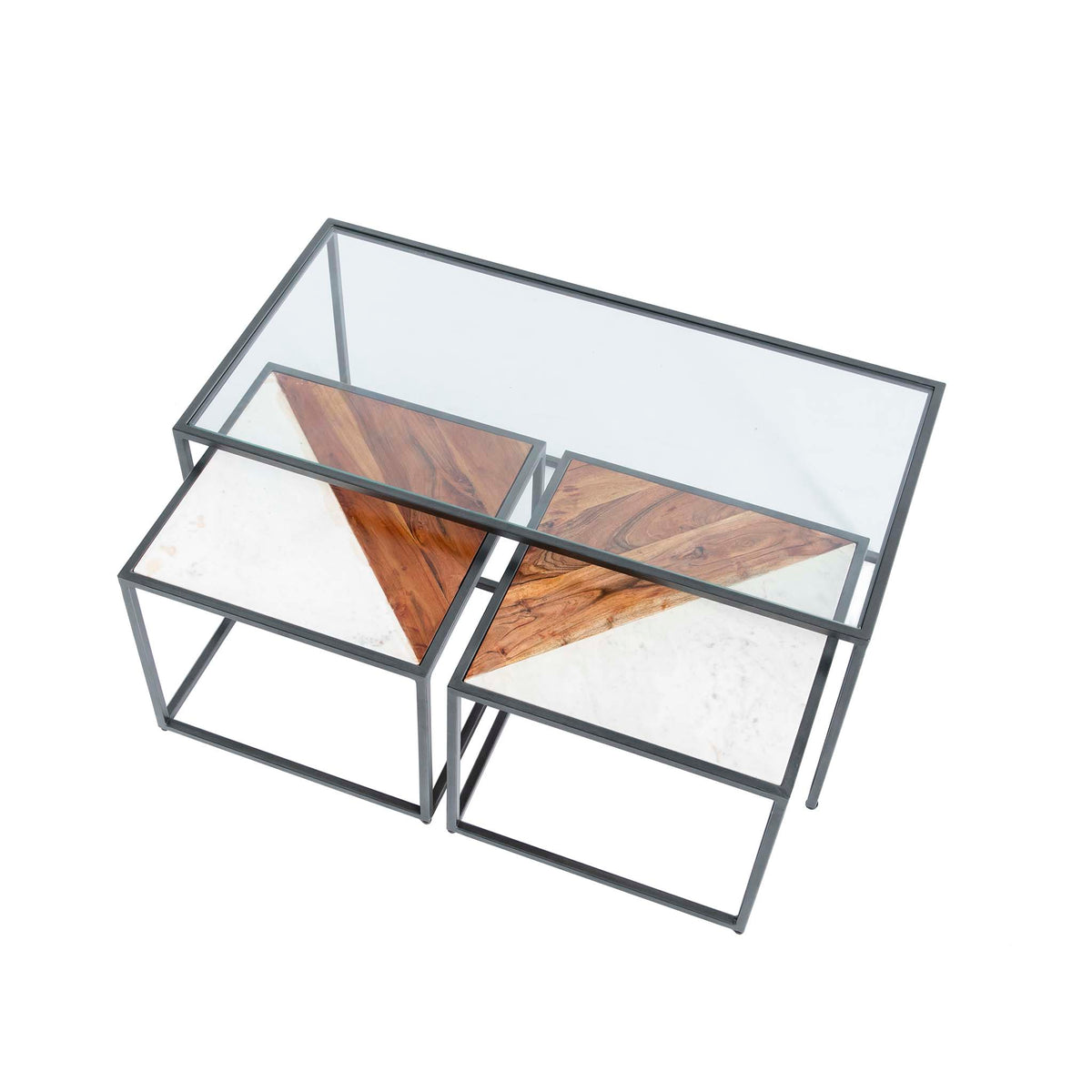 Kandla Glass Topped Coffee Table with White Marble & Wood Nested Tables and grey Bases - Birds eye view of tables