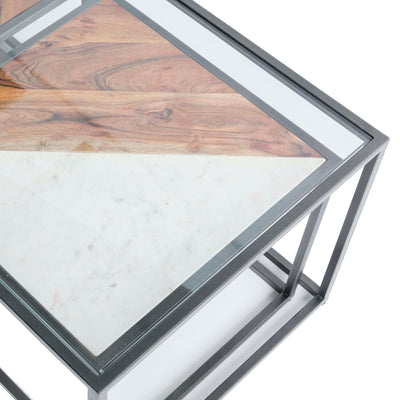 Kandla Glass Topped Coffee Table with White Marble & Wood Nested Tables and grey Bases - Close up of top of glass table looking down