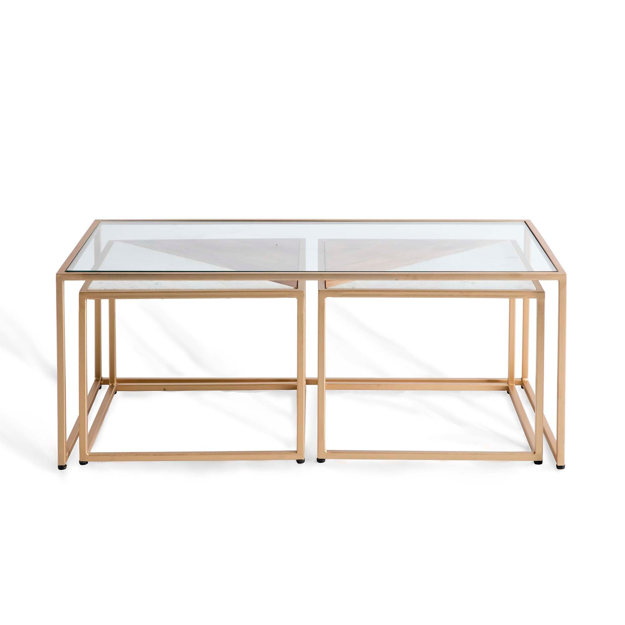 Kandla Glass Topped Coffee Table with White Marble & Wood Nested Tables and Gold Bases by Roseland Furniture