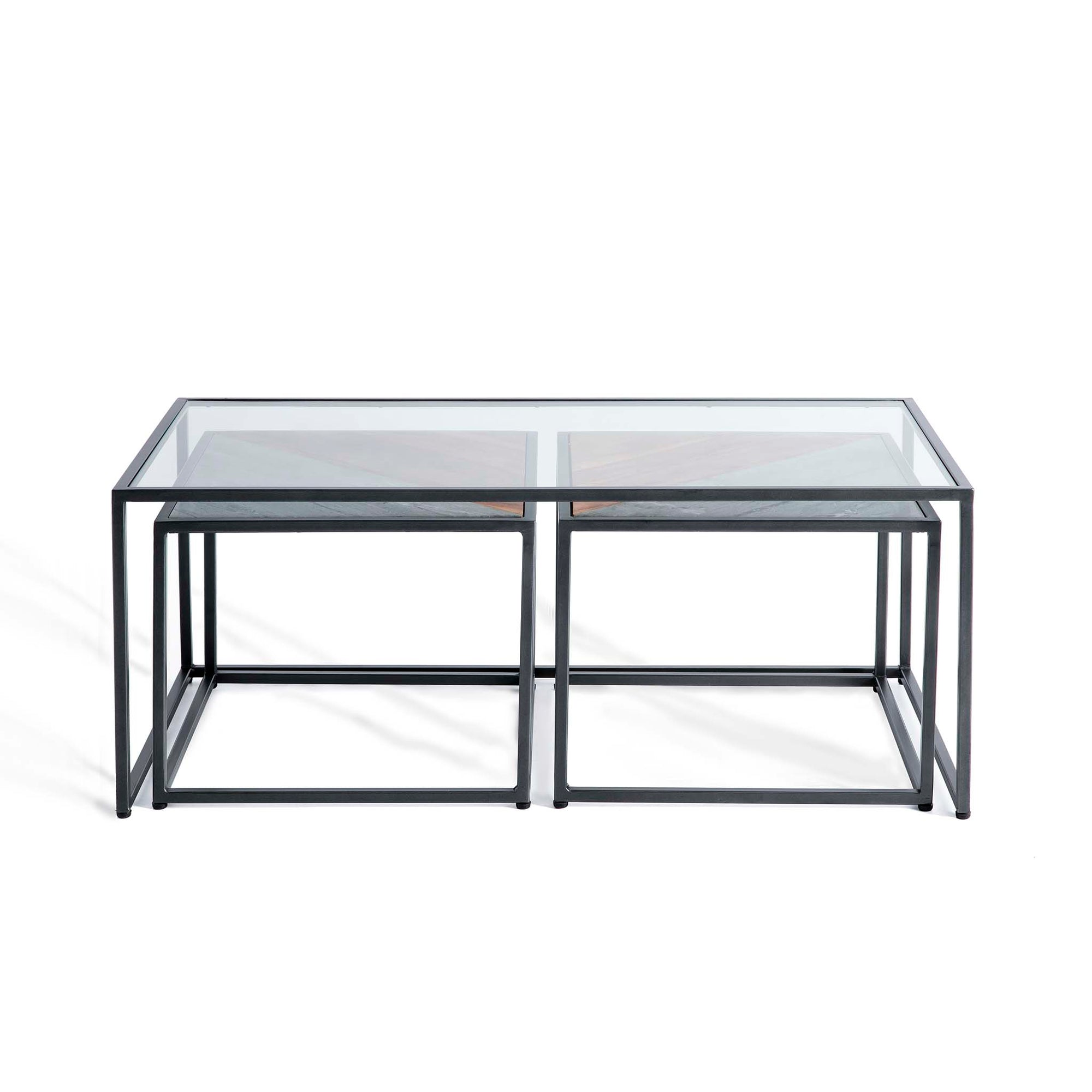 Kandla Glass Topped Coffee Table with Grey Marble & Wood Nested Tables and grey Bases by Roseland Furniture