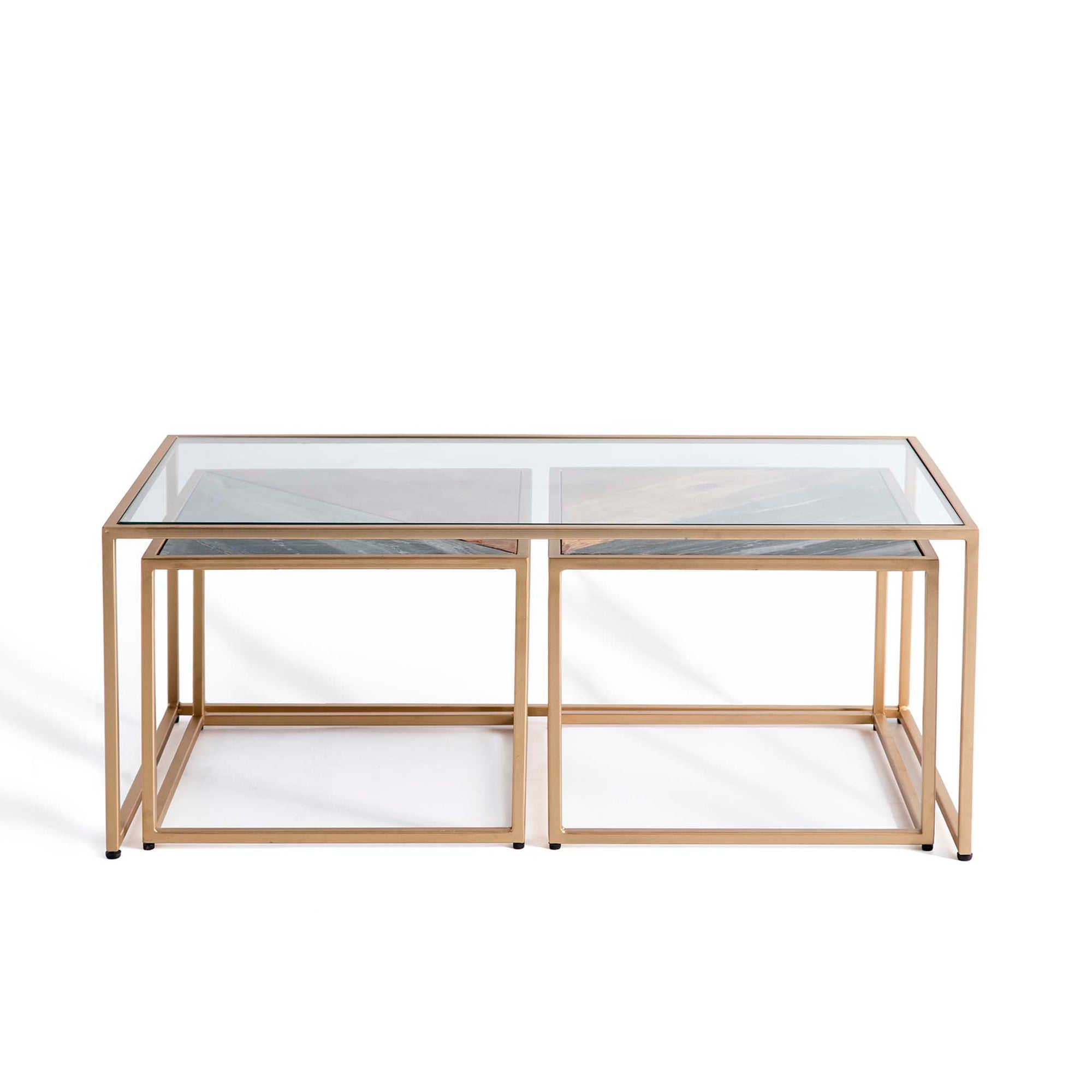 Kandla Glass Topped Coffee Table with Grey Marble & Wood Nested Tables and Gold Bases by Roseland Furniture