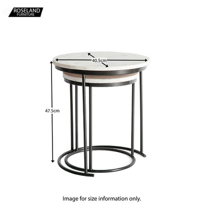 Kandla White Marble Round Nest of Tables with Grey Base - Size Guide