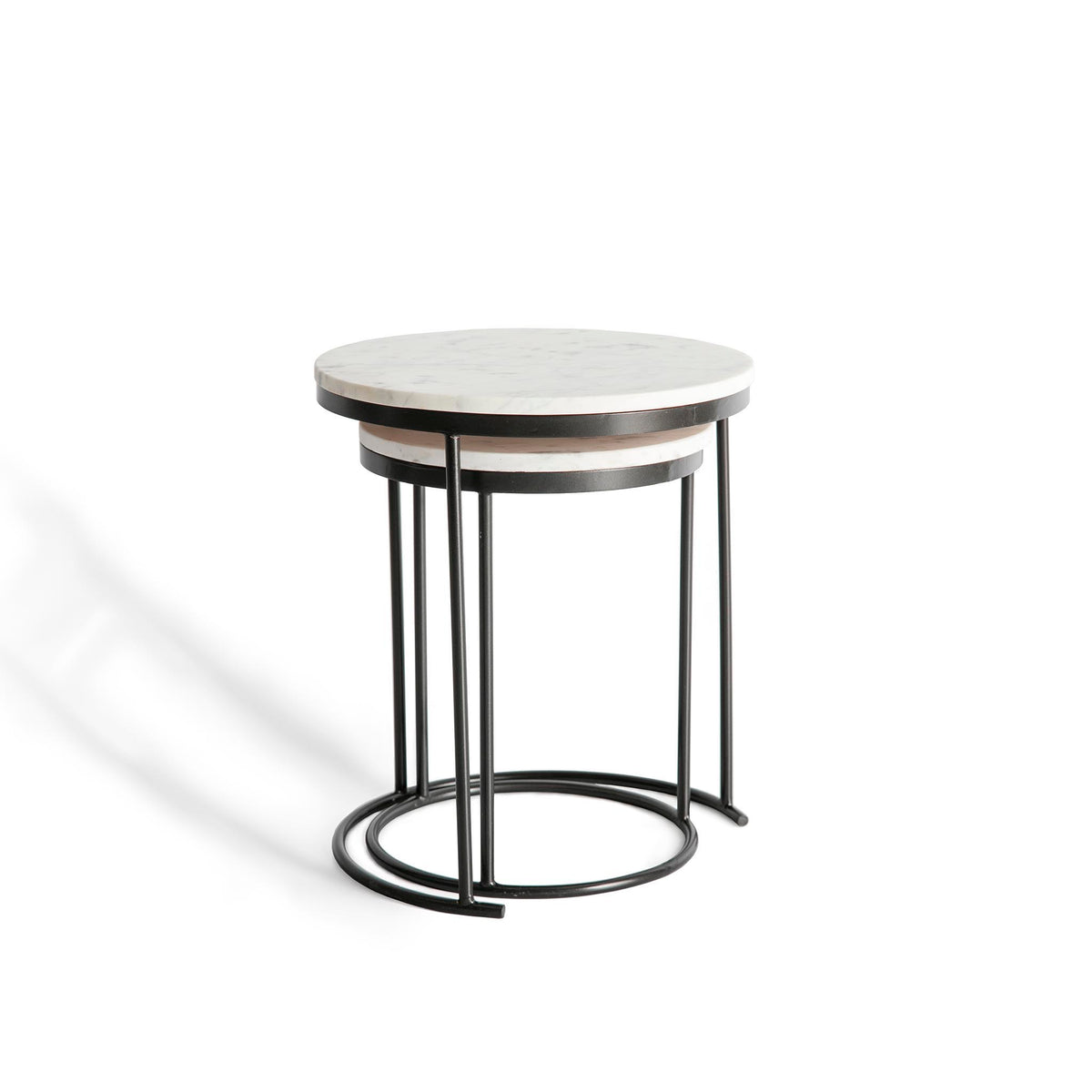 Kandla White Marble Round Nest of Tables with Grey Base by Roseland Furniture