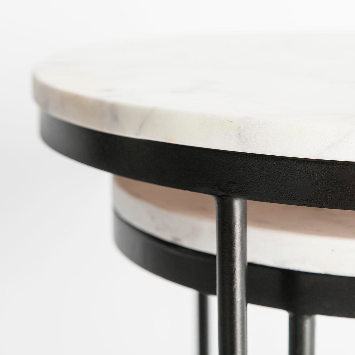 Kandla White Marble Round Nest of Tables with Grey Base