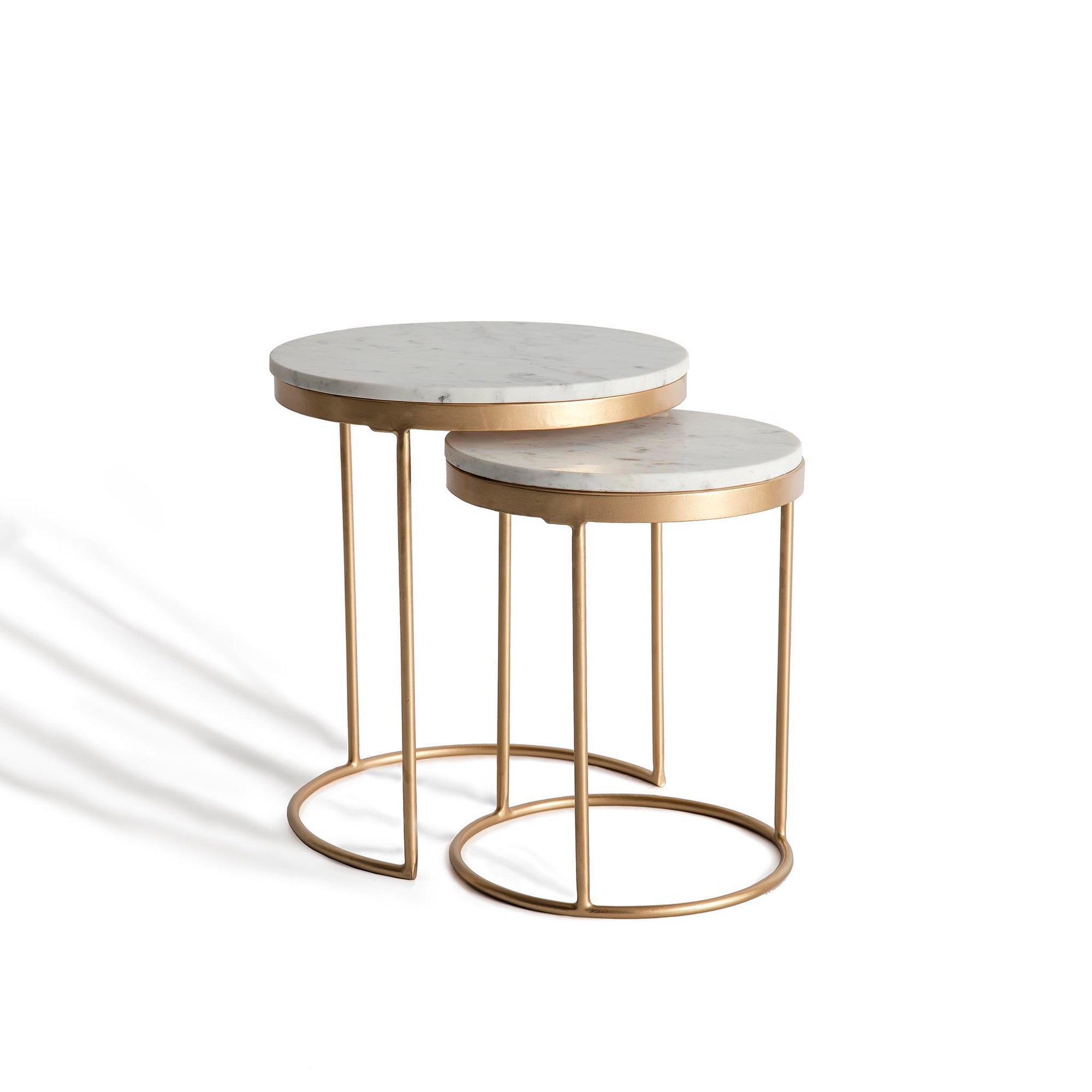 Kandla White Marble Round Nest of Tables with Gold Base by Roseland Furniture