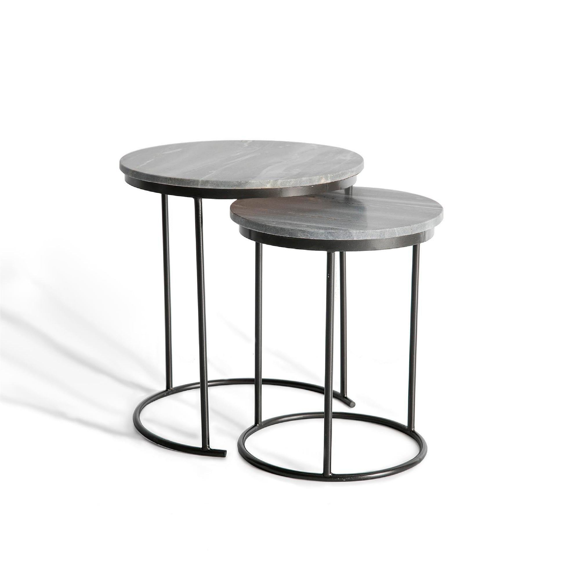 Kandla Grey Round Marble Topped Nest of Tables with Grey Base