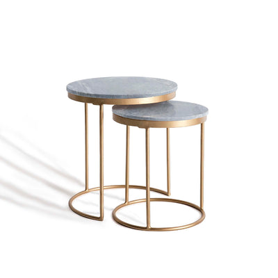Kandla Grey Marble Round Nest of Tables with Gold Base by Roseland Furniture