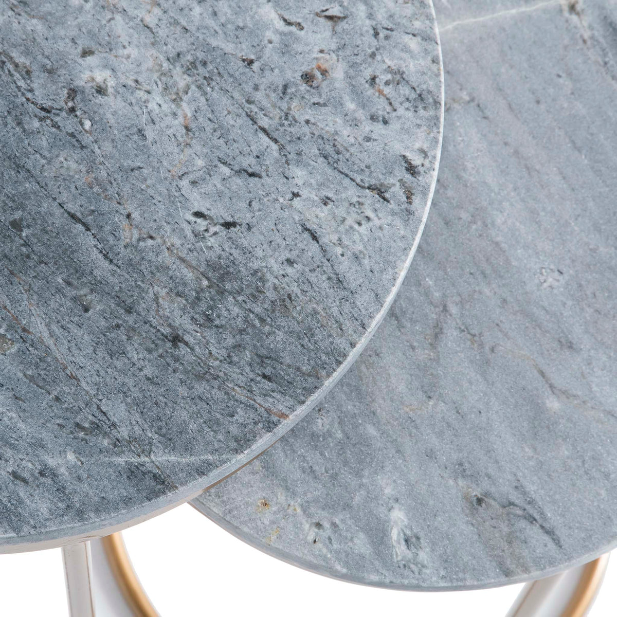 Kandla Grey Marble Round Nest of Tables with Gold Base - Close up of Marble Tops while tables are nested