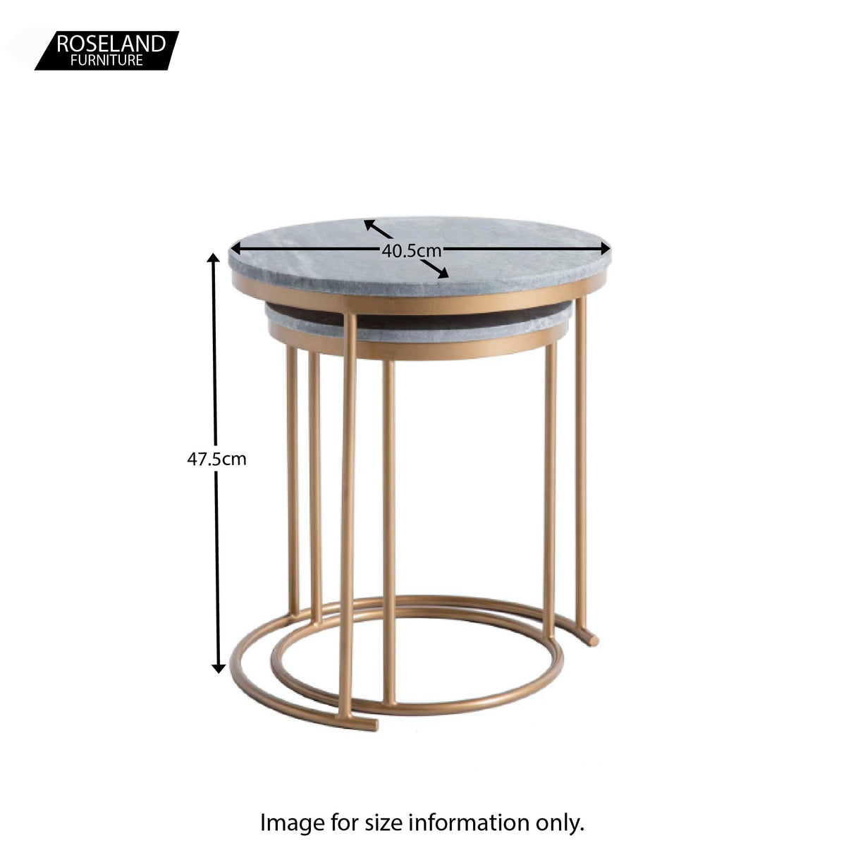 Kandla Grey Marble Round Nest of Tables with Gold Base - Size Guide