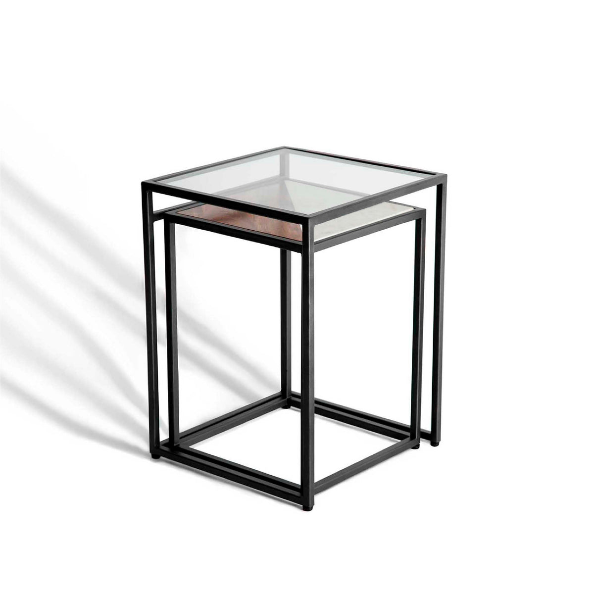 Kandla White Marble & Wood Square Nest of Tables with Grey Base