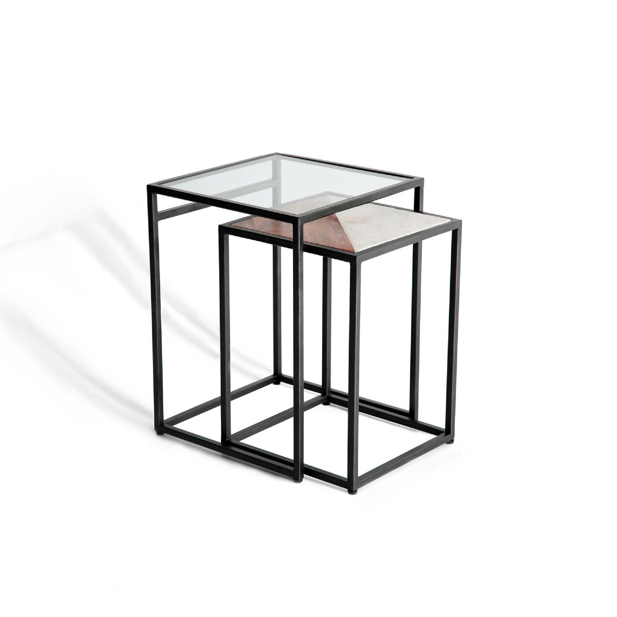 Kandla White Marble & Wood Square Nest of Tables with Grey Base by Roseland Furniture