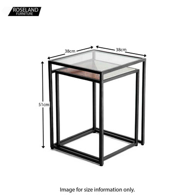 Kandla White Marble & Wood Square Nest of Tables with Grey Base - Size Guide