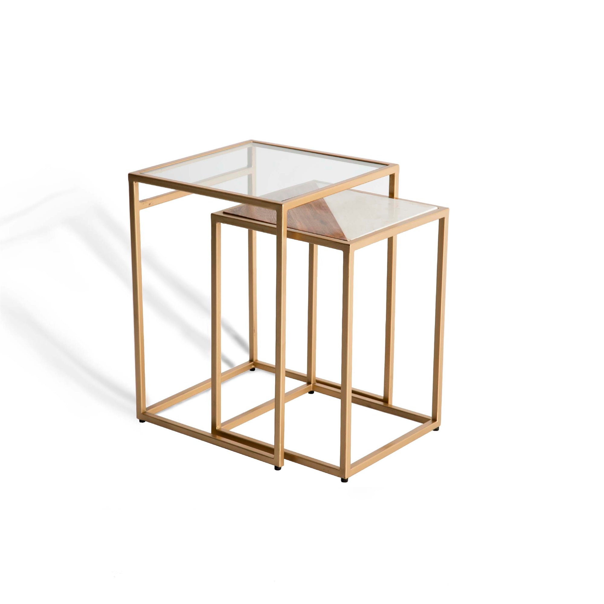 Kandla White Marble & Wood Square Nest of Tables with Gold Base