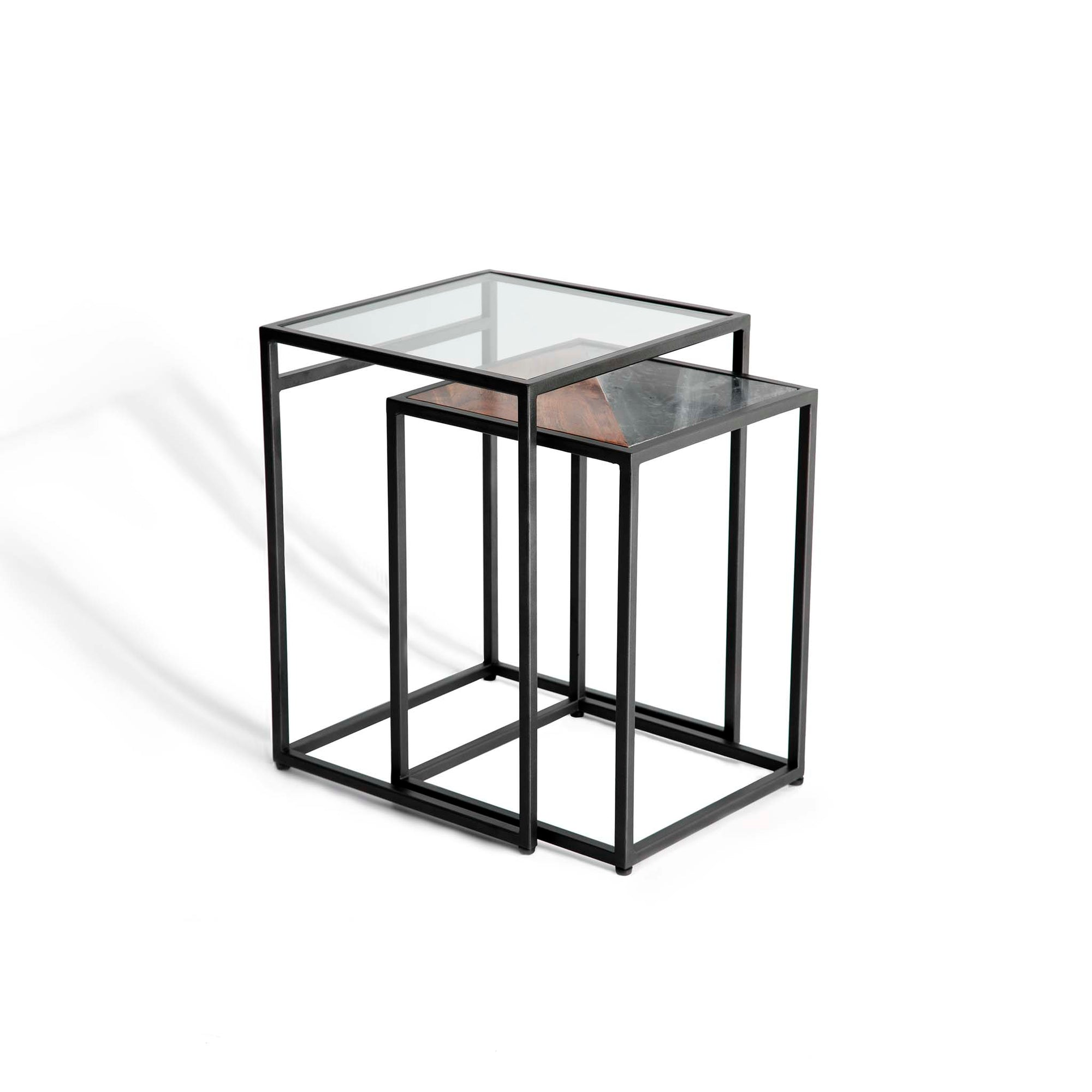 Kandla Grey Marble & Wood Square Nest of Tables with Grey Base by Roseland Furniture