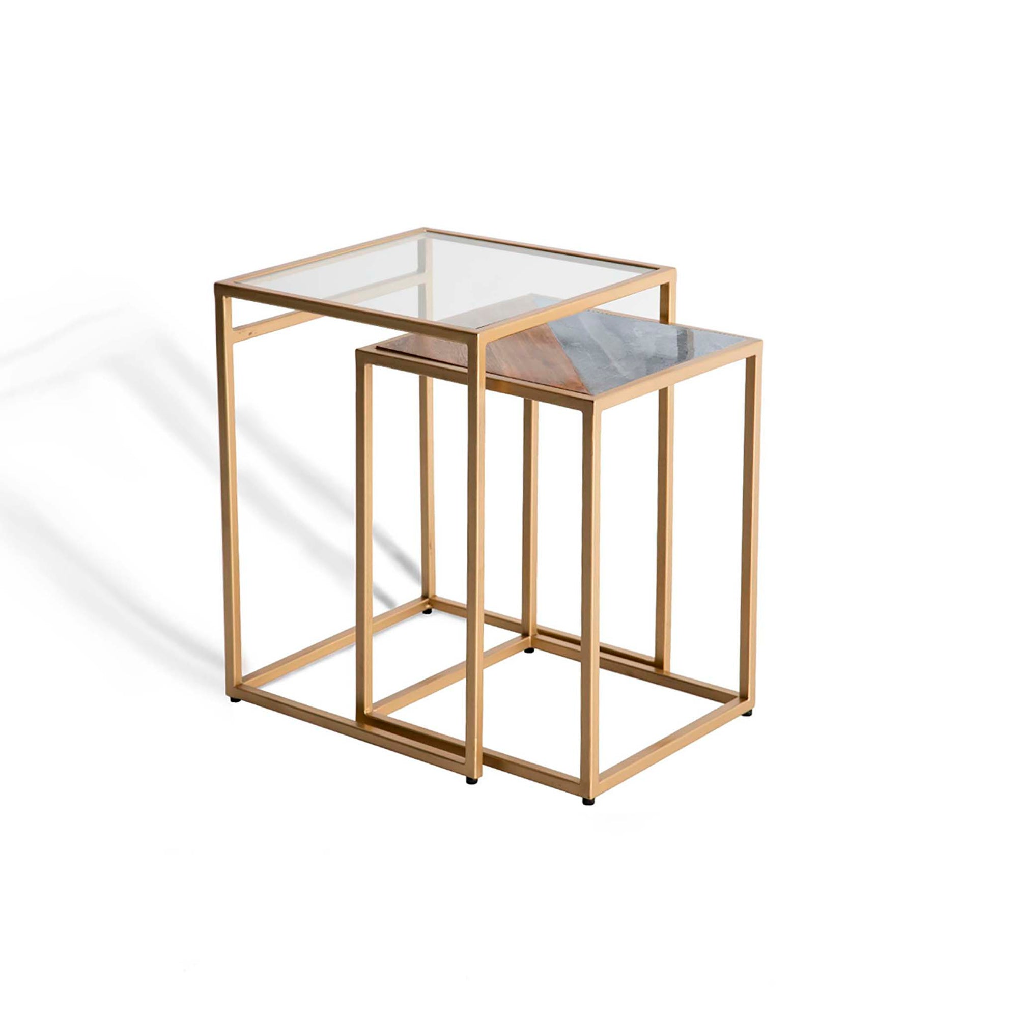 Kandla Grey Marble & Wood Square Nest of Tables with Gold Base by Roseland Furniture
