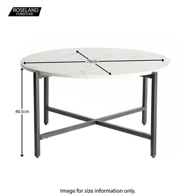 Kandla White Round Marble Coffee Table with Grey Base - Size Guide