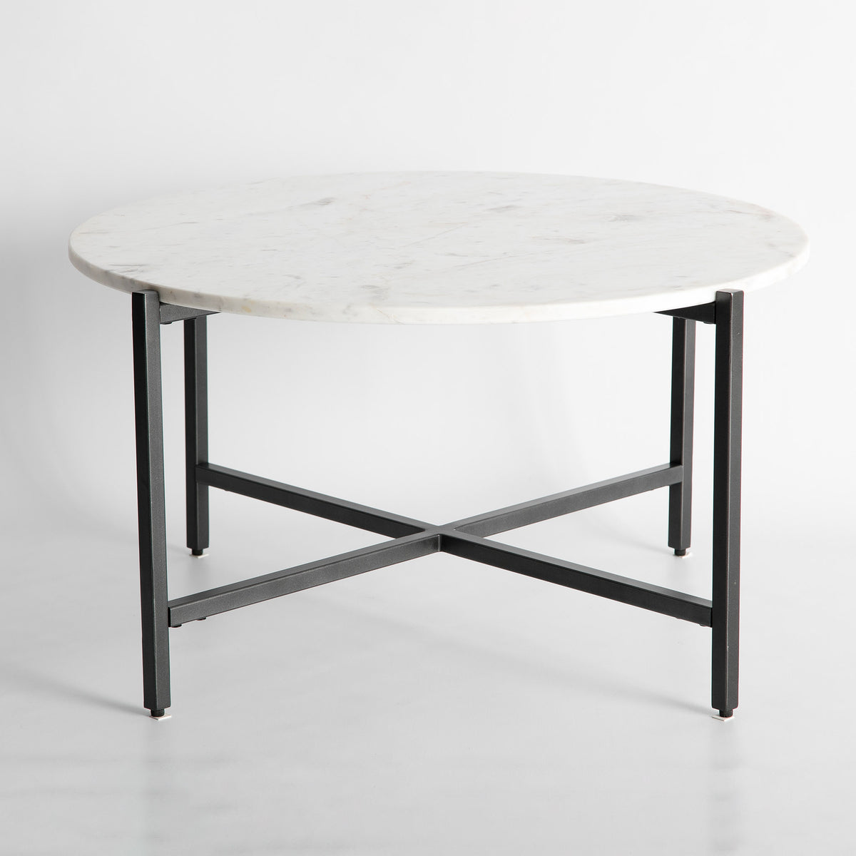 Kandla White Round Marble Coffee Table with Grey Base