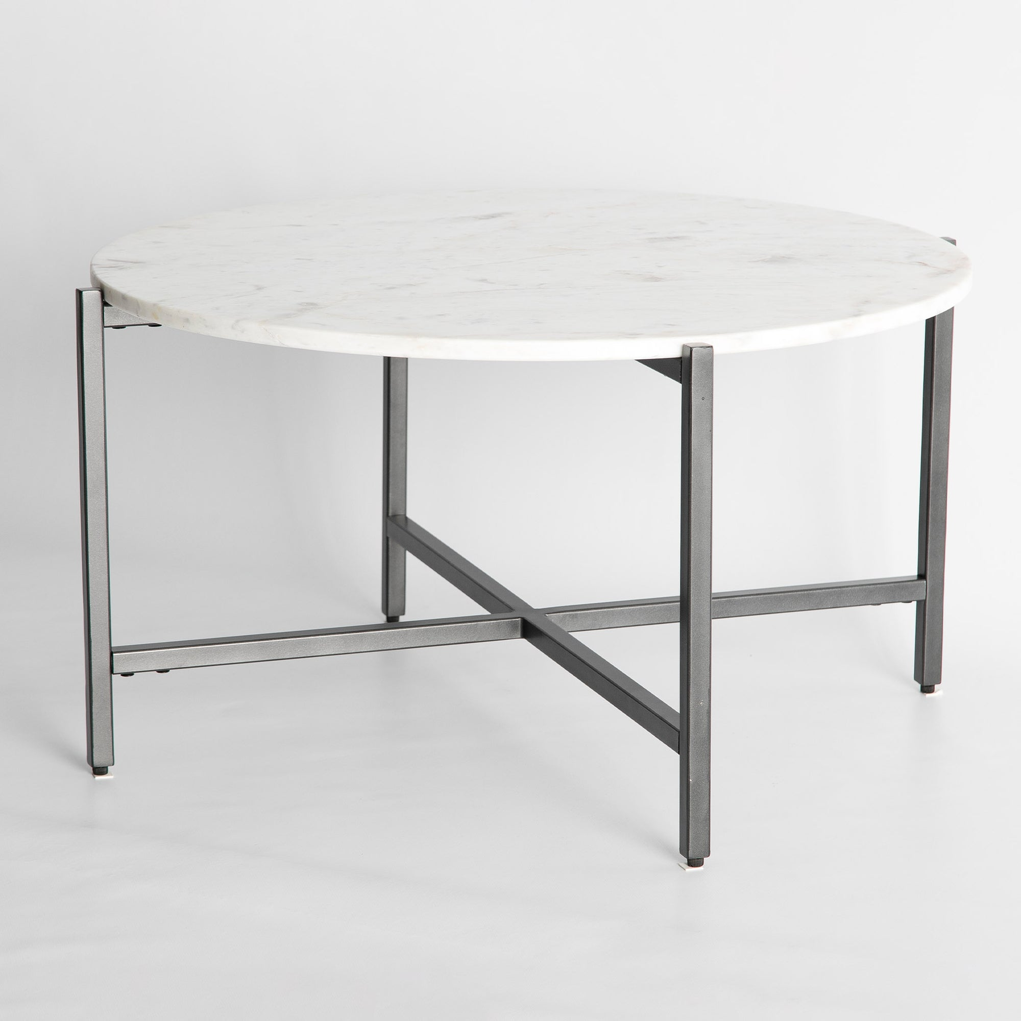 Kandla White Large Round Marble Coffee Table With Grey Metal Legs Roseland Furniture