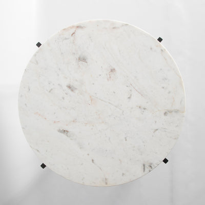 Top view of the Kandla White Round Marble Coffee Table with Grey Base