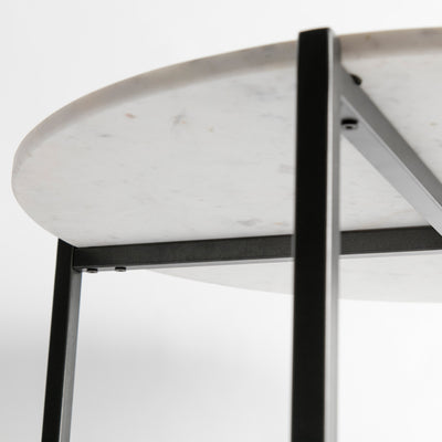 Underside view of the Kandla White Round Marble Coffee Table with Grey Base