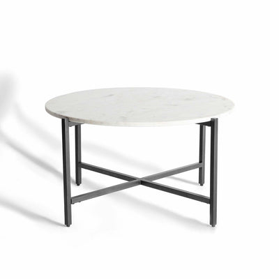 Kandla White Round Marble Coffee Table with Grey Base by Roseland Furniture