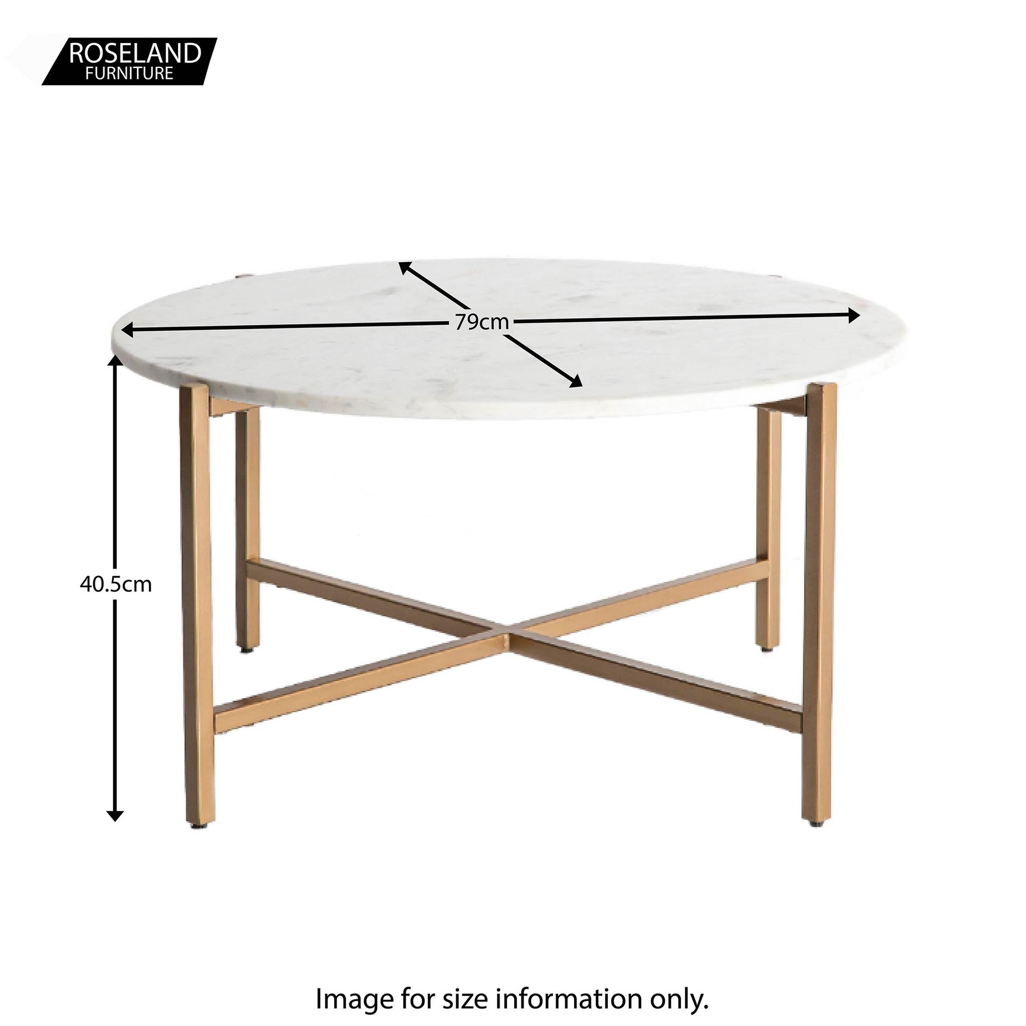 Kandla White Large Round Marble Coffee Table With Gold Metal Legs Roseland Furniture