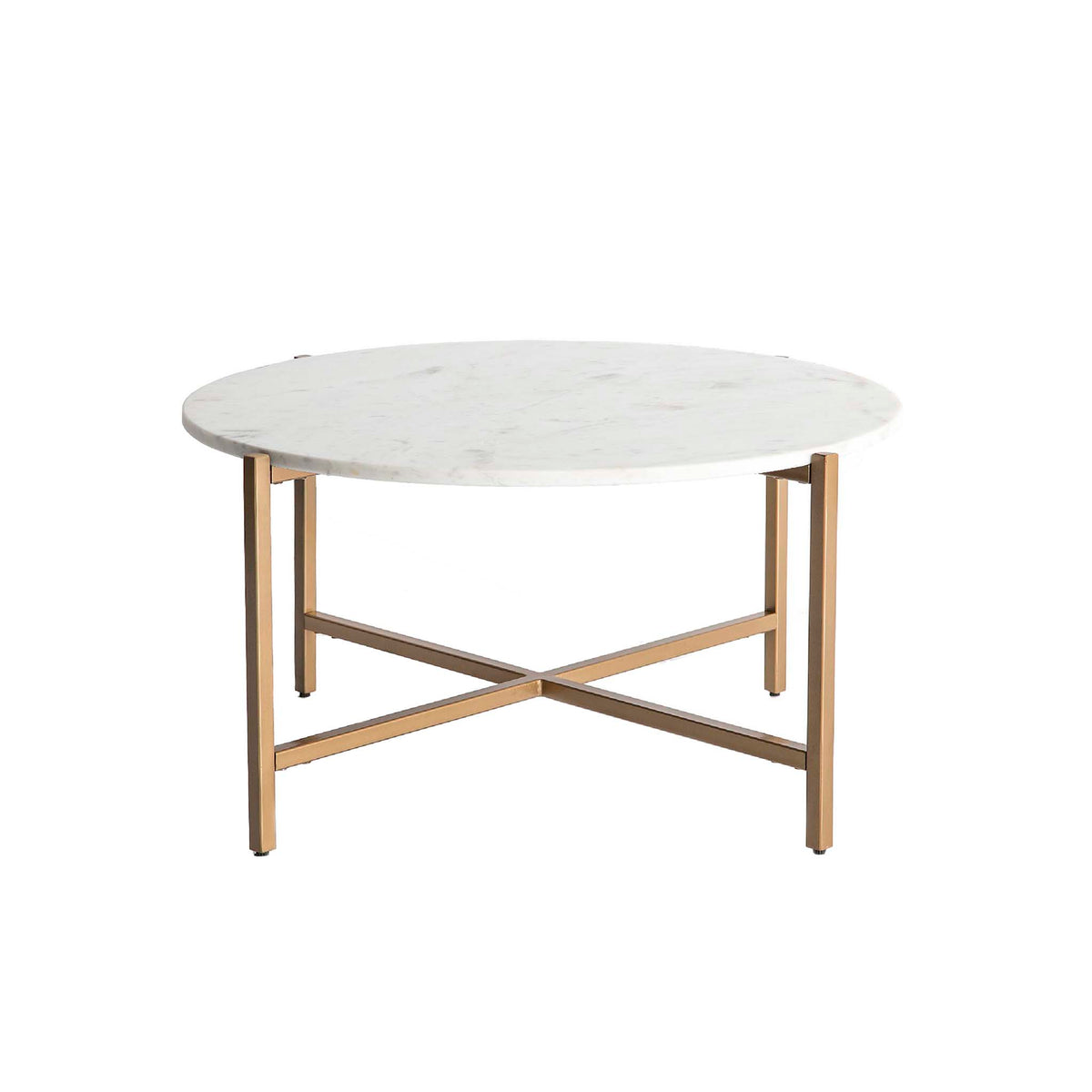 Kandla White Round Marble Coffee Table with Gold Base