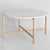 Side view of the Kandla White Round Marble Coffee Table with Gold Base