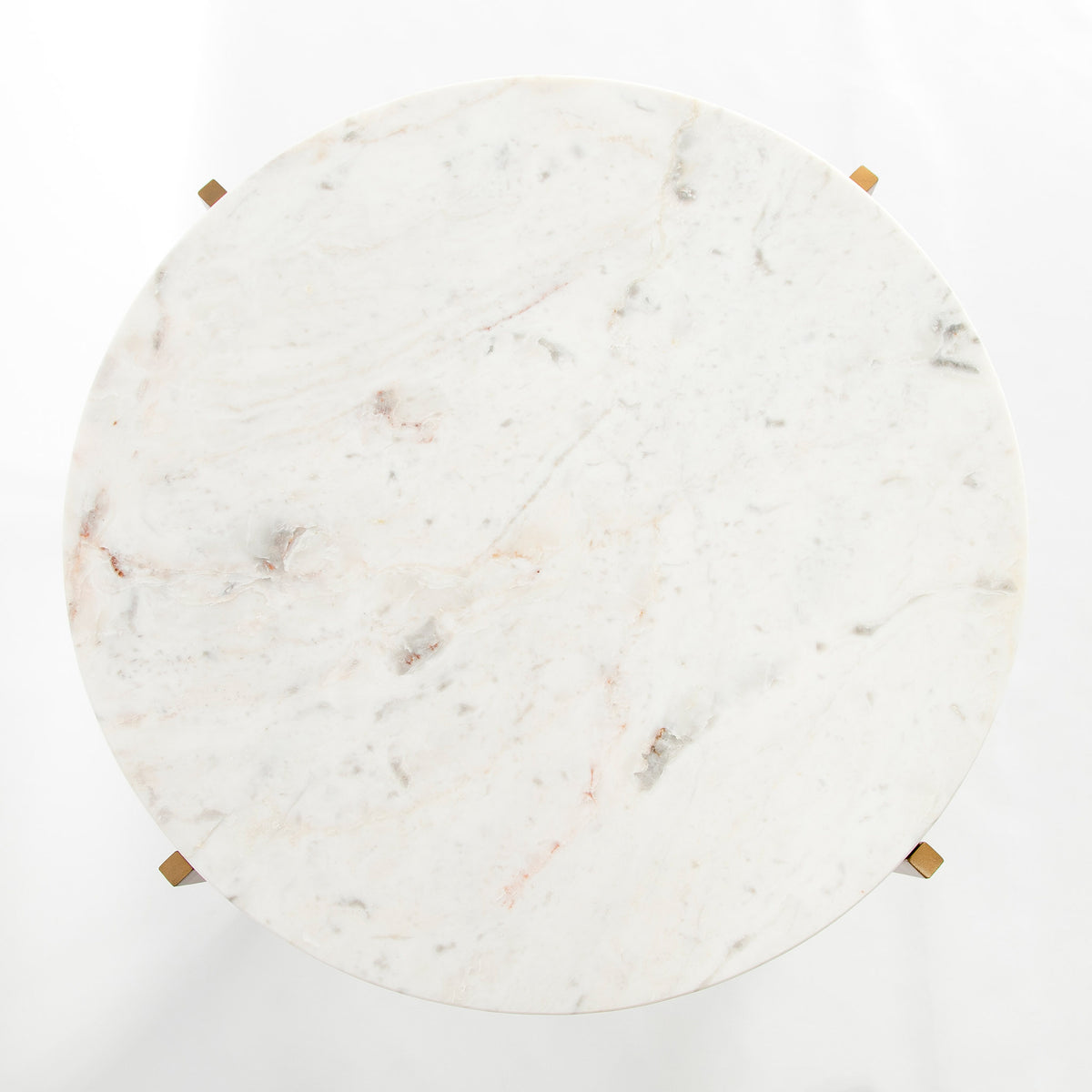 Top view of the Kandla White Round Marble Coffee Table with Gold Base
