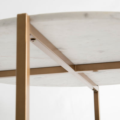 Underview of the Kandla White Round Marble Coffee Table with Gold Base