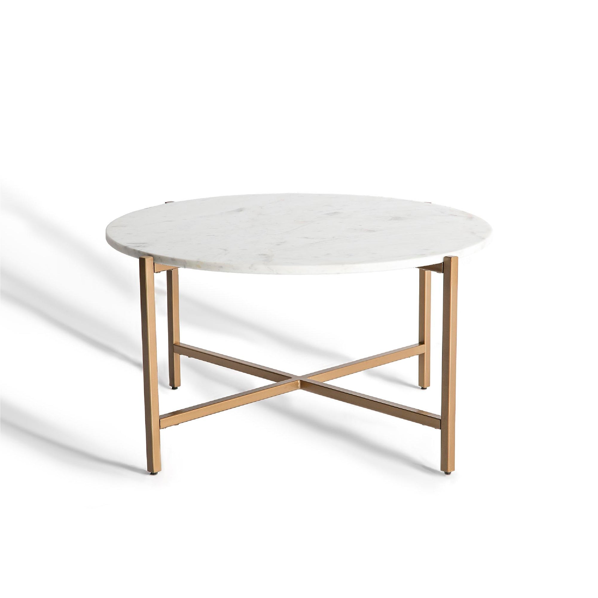 Kandla White Round Marble Coffee Table with Gold Base by Roseland Furniture