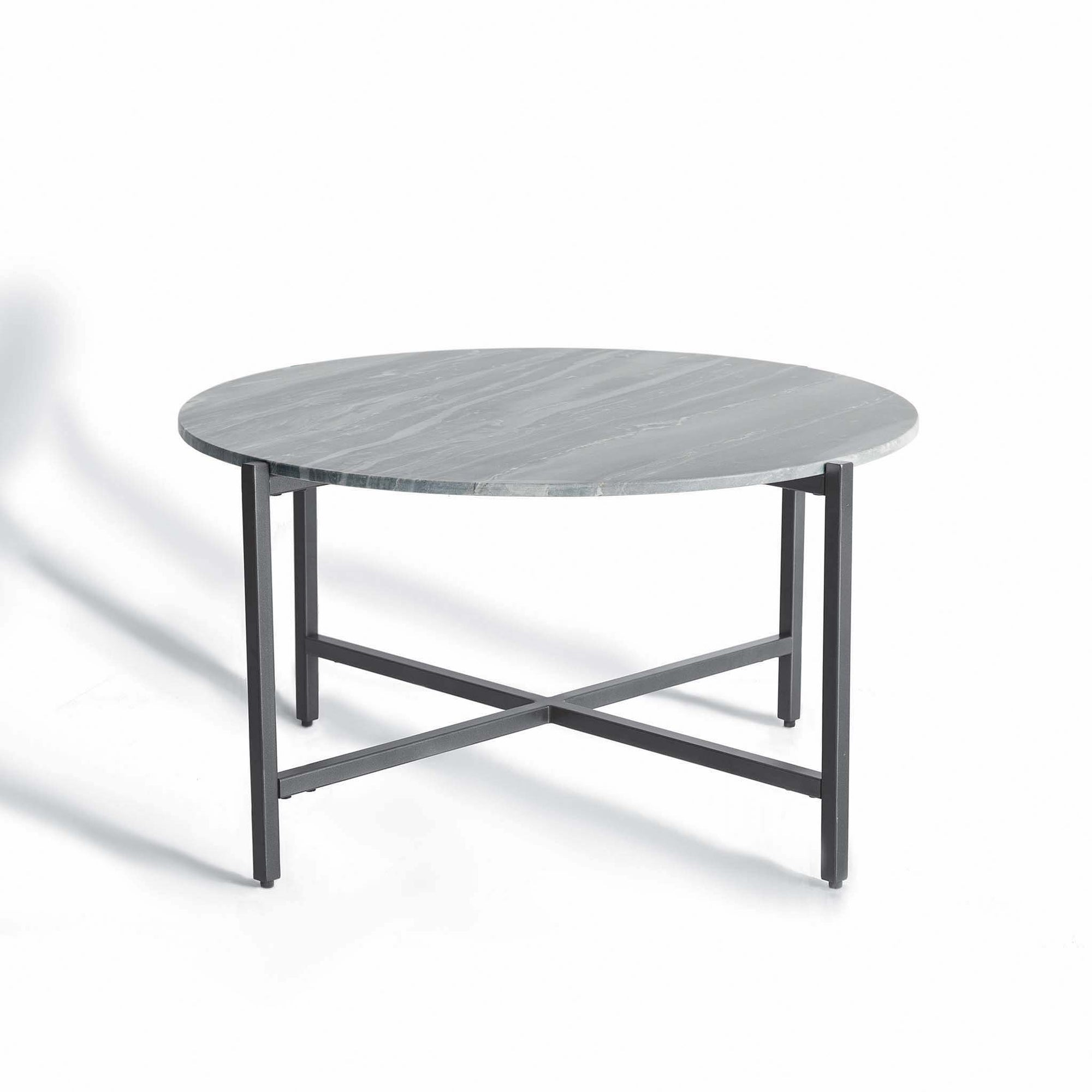 Kandla Grey Round Marble Coffee Table with Grey Base by Roseland Furniture