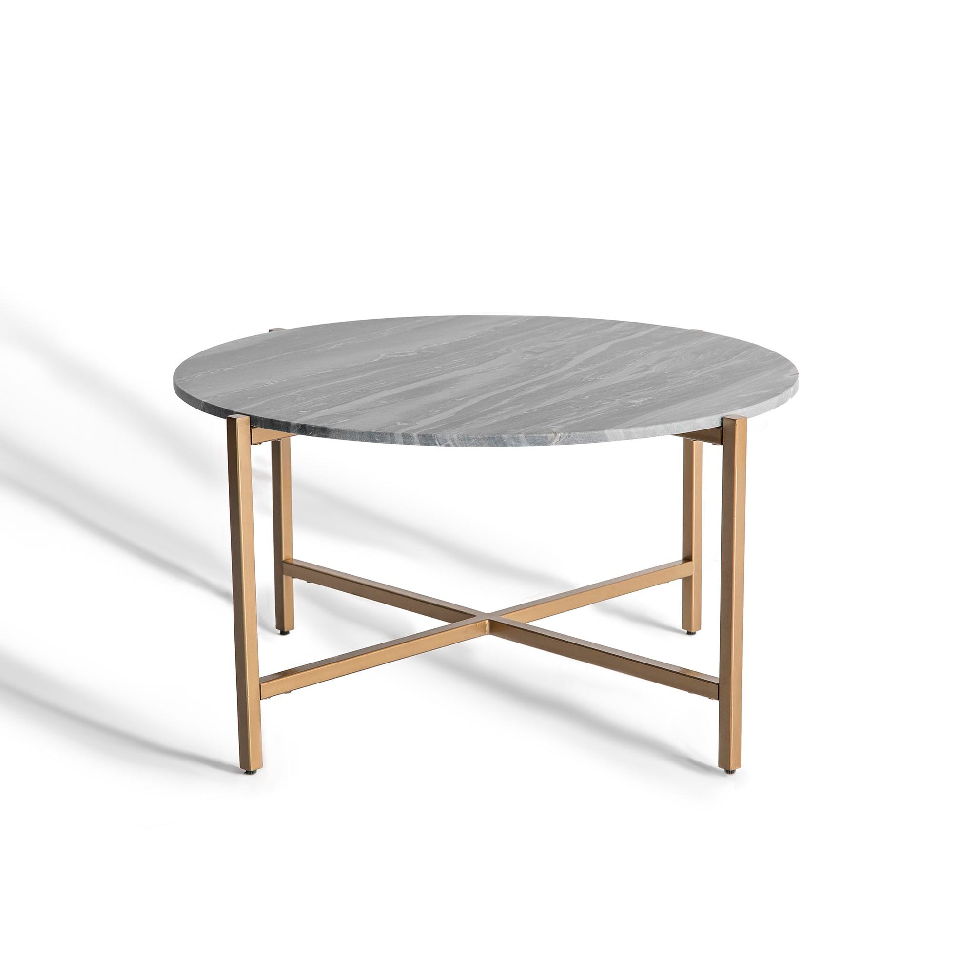 Kandla Grey Round Coffee Table with Gold Base by Roseland Furniture