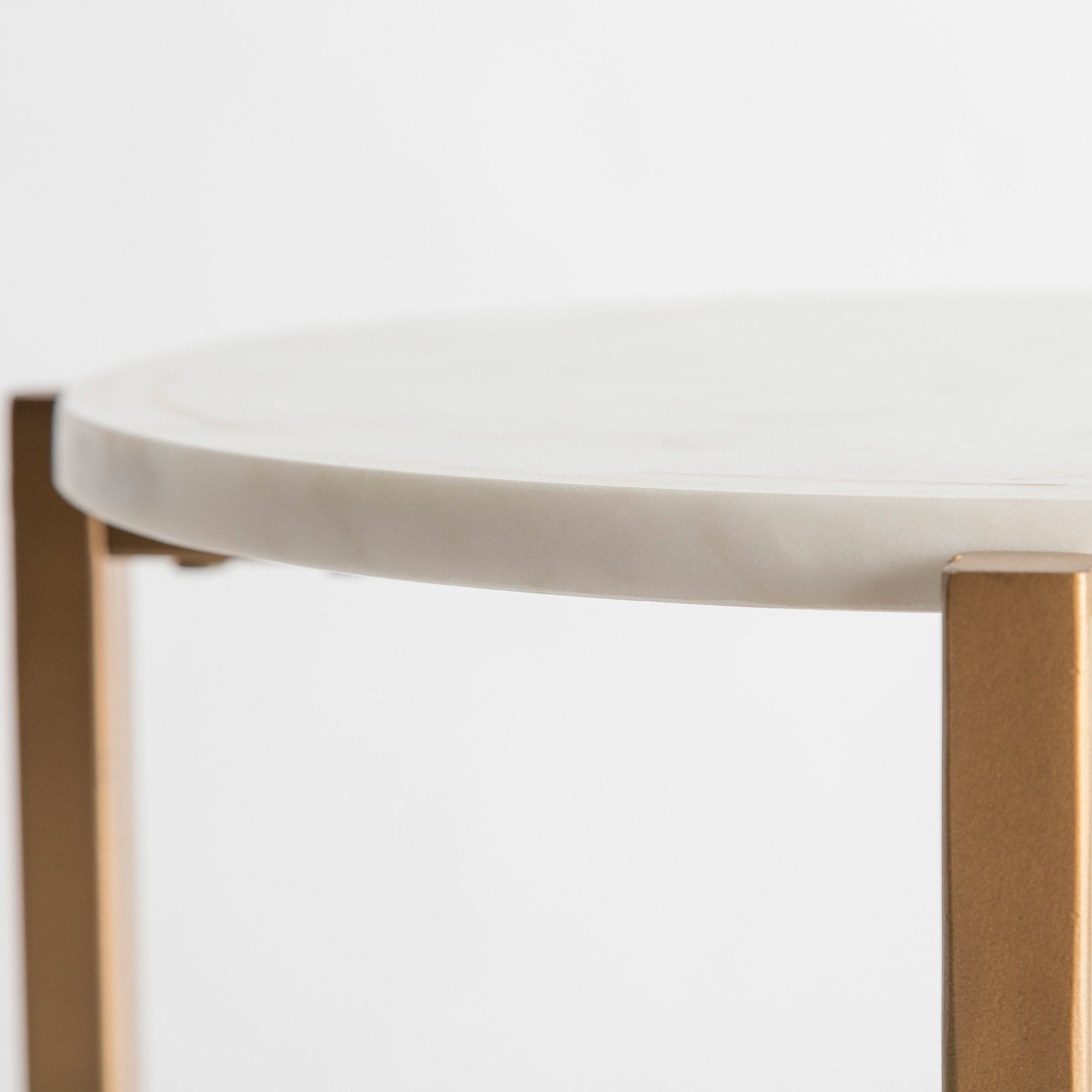 Kandla White Small Round Marble Side Table With Gold Metal Legs Roseland Furniture