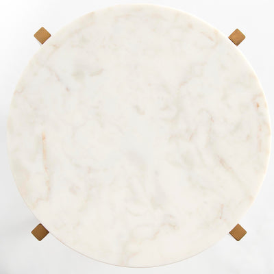 Kandla White Round Side Table with Gold Base - Top View