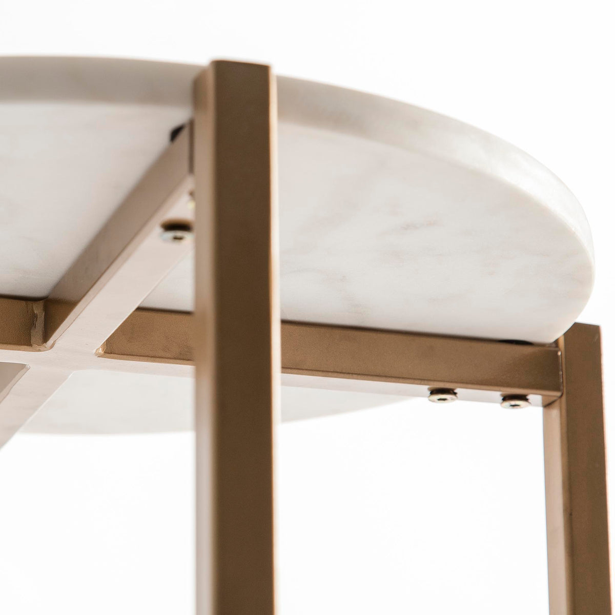 Kandla White Round Side Table with Gold Base - Close up of the underside of the marble table top