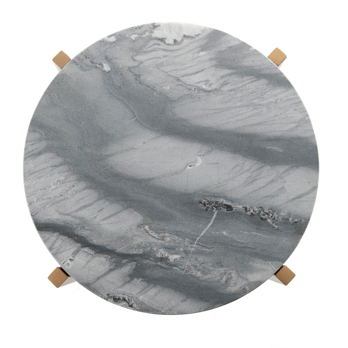 Kandla Grey Round Marble Side Table with Golden Base by Roseland Furniture - Top View
