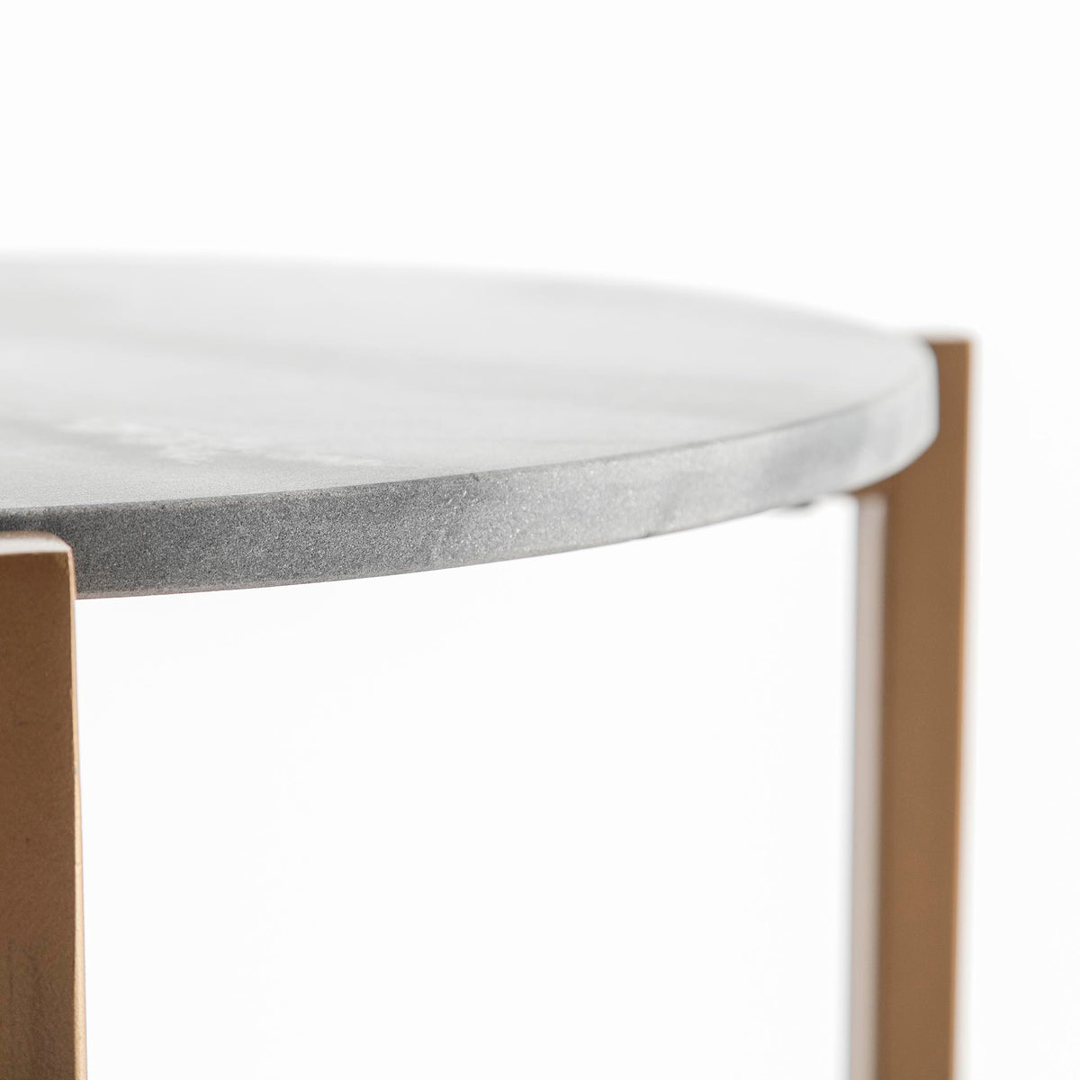 Kandla Grey Round Marble Side Table with Golden Base by Roseland Furniture - Close up of Marble edge