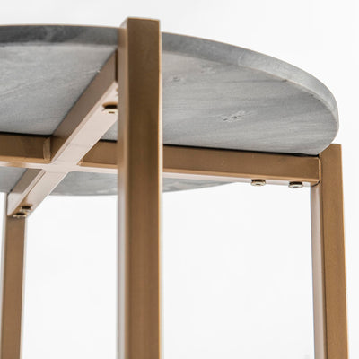 Kandla Grey Round Marble Side Table with Golden Base by Roseland Furniture - Close up of underneath table top