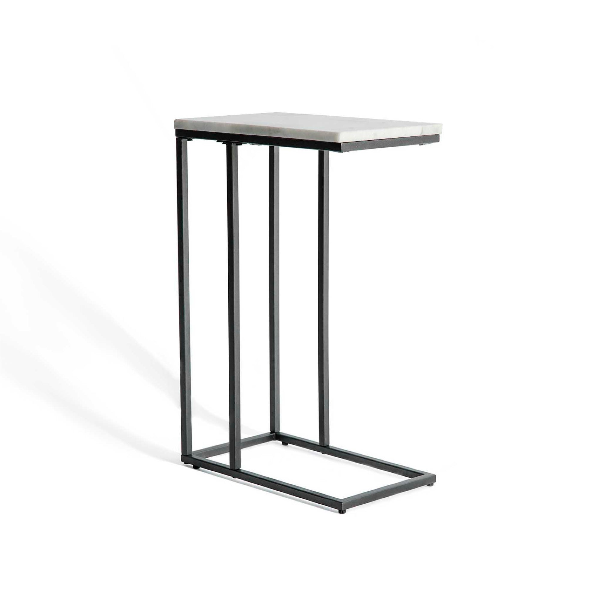 Kandla White Marble Side Table with Grey Base
