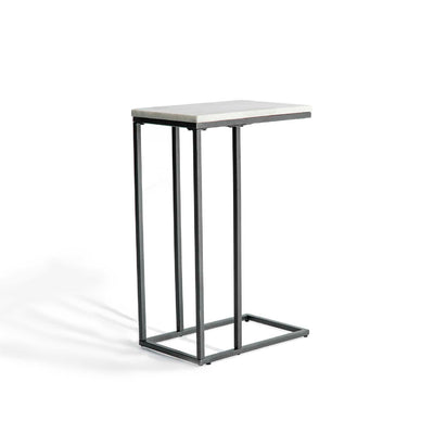 Rear view of the Kandla White Marble Side Table with Grey Base