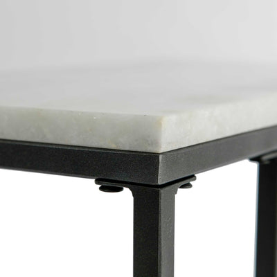 Close up of the white marble top edge on the Kandla White Marble Side Table with Grey Base