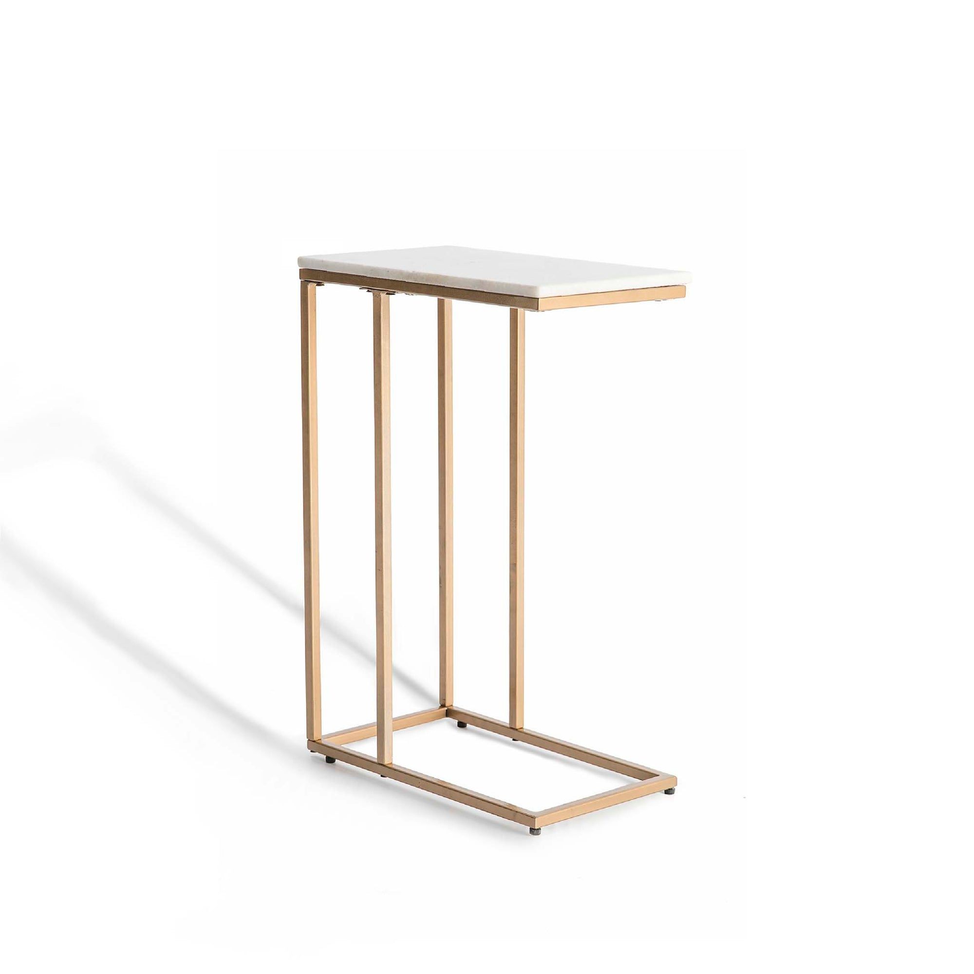Kandla White Marble Side Table with Gold Base by Roseland Furniture