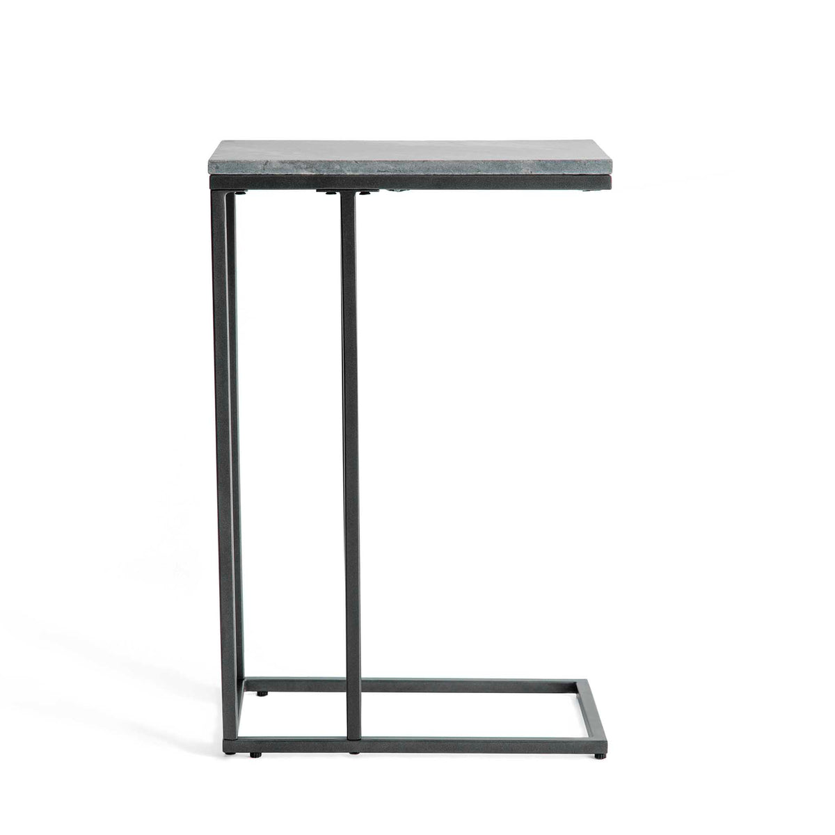 Side view of the Kandla Grey Marble Side Table with Grey Base