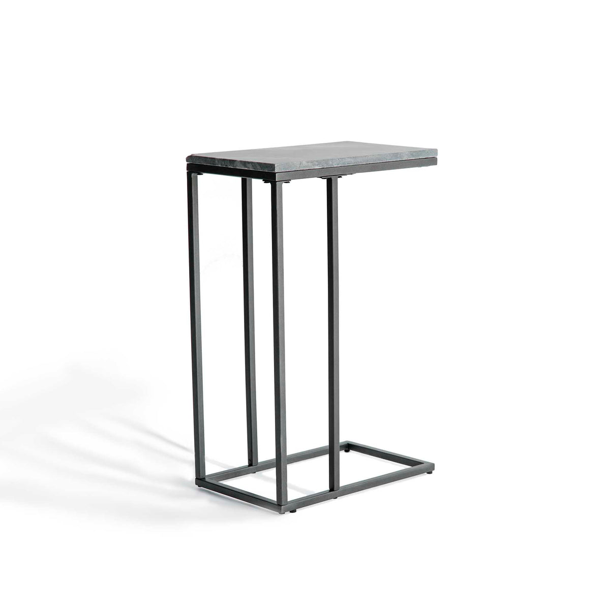 end view of the Kandla Grey Marble Side Table with Grey Base