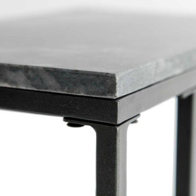 Close up of the marble top edge on the Kandla Grey Marble Side Table with Grey Base